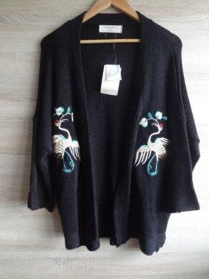 NEU Zara N P 70€!! lange Strickjacke Kimono Blazer Pelikan schwarz M blogger NEU