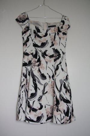 NEU Zara Off-Shoulder Kleid Blumenmuster weiß schwarz rosa Gr. S