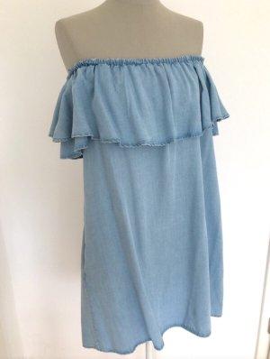 Neu Zara Off Shoulder Schulterfrei Kleid blau  Blogger Volant M 36