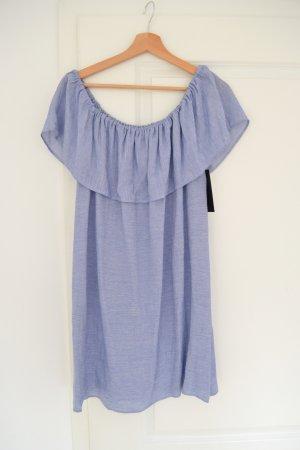 Neu Zara Off Shoulder Schulterfrei Kleid blau Viskose M 38