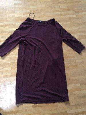 Neu! Zara Oversized bordeaux Blogger Jersey Kleid Rückenfrei S 36