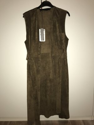 Zara Leather Vest green grey leather