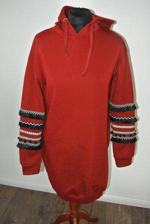 Zara Vestido de tela de sudadera rojo oscuro-negro