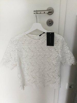 NEU Zara top Bluse spitze Blumen weiß