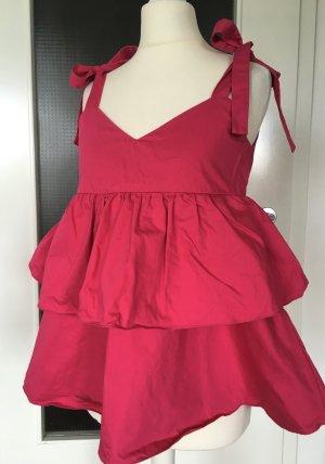 NEU Zara Trafaluc Top XS 34 Rüschen Pink Fuchsia Volants Sommertop