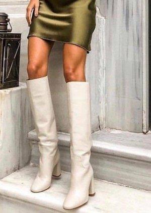 Neu Zara Weiss Cream Leder Stiefel Gr. 40 neu
