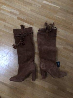 Zara Botte haute brun daim