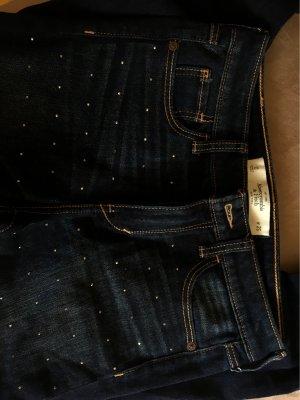 Abercrombie & Fitch Jeans a vita alta blu scuro-bianco