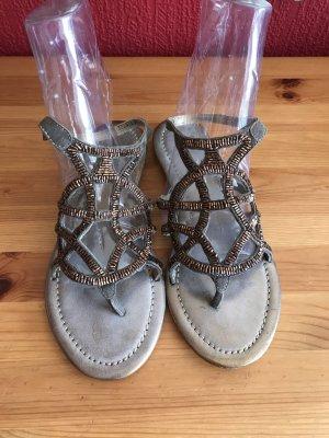 Neue Apepazza Zehentrenner-Sandalen mit aufwendigem Perlenbesatz Gr. 39