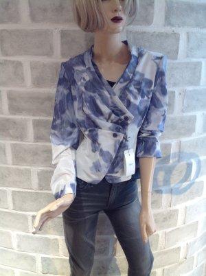 Armani Collezioni Blazer court blanc-bleu acier tissu mixte