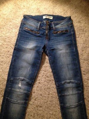 Jeans da motociclista blu acciaio