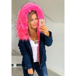 Neue Blogger Jacke Parka Anorak Pink Fell Fake Fur Kunstfell L-XL