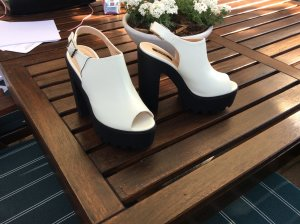 neue blogger plateau sandalette block keilabsatz schwarz weiß