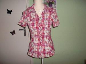 neue bluse,34/36,pink,stretch,kurzarm,gemustert