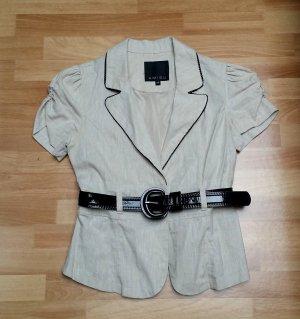 neue Bluse in beige mit schwarzem Gürtel, 36, Amisu