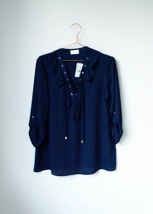 Neue Bluse in dunkelblau zum schnüren mit Volants 40 Tie Up
