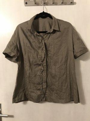 Neue Bluse in khaki mit Rüschen