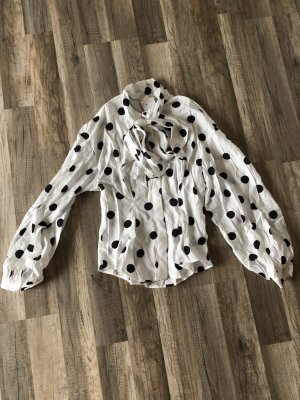H&M Tie-neck Blouse white-black