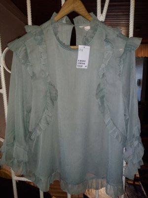 H&M Camicetta con arricciature verde-grigio