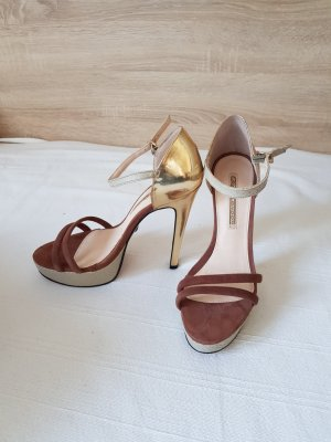 Buffalo High Heel Sandal brown-gold-colored leather
