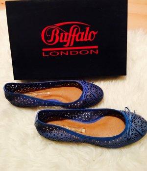 Neue Buffalo London Ballerinas blau spitze