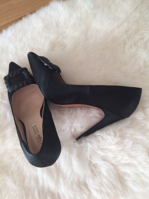 Neue Buffalo Satin-Pumps in schwarz