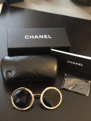 """Neue CHANEL Sonnenbrille """"Round Summer"""" Gold und Silber Metall"""