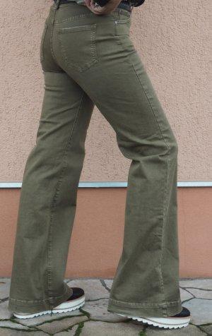 Mango Pantalón de color caqui gris verdoso-caqui