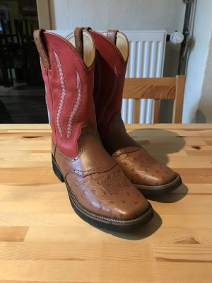 Boots western marron clair-rouge framboise