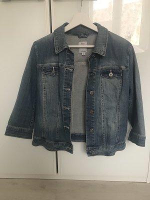 Neue, crop, blau, weiße Jeansjacke von S.Oliver