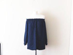 neue dunkelblaue Mango Carmen Bluse Gr. L 38 40 jeans