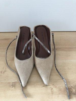Strapped High-Heeled Sandals beige fur