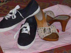 Mare Sandalo con tacco crema Pelle