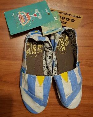 Espadrille sandalen wit-neon blauw