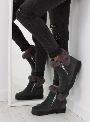 NEUE Fell Boots aus Wildleder gefütterte Stiefel Halbstiefel XY-299 Halbschuhe mit Keilabsatz 7cm Fell Fake Fur Kunstfell Reißverschluss Blogger 38 39 40 41