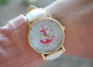 Neue Geneva Uhr weiß gold mit Anker-Motiv