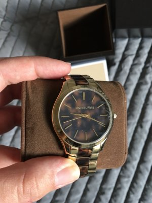 Michael Kors Watch With Leather Strap gold-colored-cognac-coloured