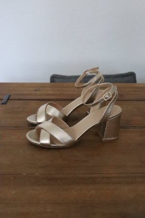 Asos Strapped High-Heeled Sandals gold-colored