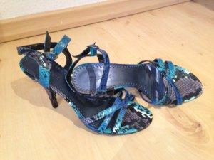 Neue GRACELAND Sandaletten blau in Schlangenleder Optik, Größe 40