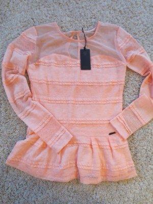 NEUE Guess Bluse langarm mit Spitze und Transparenz, Gr. 36, apricot
