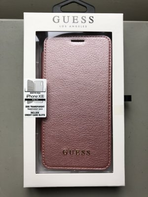 Guess Carcasa para teléfono móvil color rosa dorado Imitación de cuero