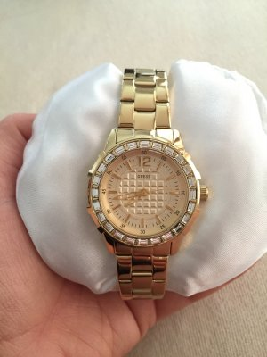Neue GUESS Uhr Gold Strass Beutel