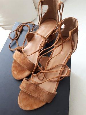 Hallhuber High-Heeled Sandals cognac-coloured