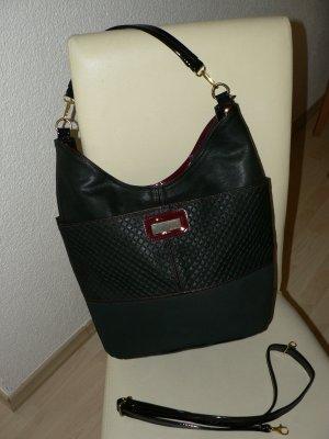 NEUE Handtasche groß schwarz bordeaux gold
