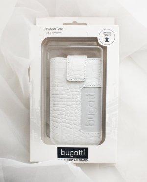 Neue Handytasche Case Hülle iPhone Samsung Sony etc weiß Krokodil Kroko Muster Leder Bugatti Größe M