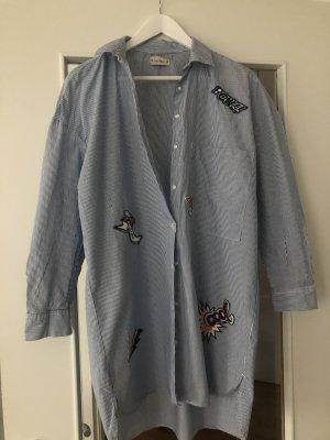 Pull & Bear Abito blusa camicia blu fiordaliso-bianco