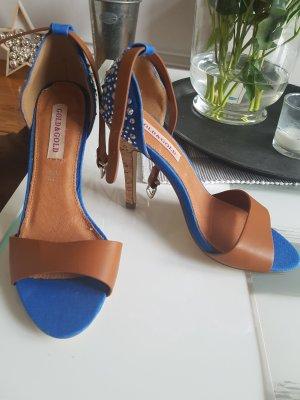 High Heel Sandal cognac-coloured-steel blue
