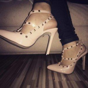 Neue High Heels Strass beige creme nude gold Nieten Studs 38 blogger hipster