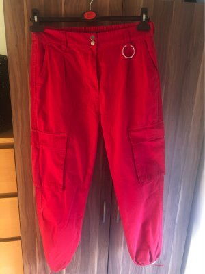 Bershka Boyfriendbroek donkerrood