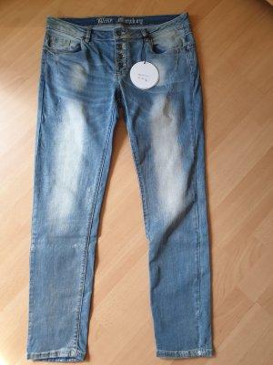 Blue Monkey Skinny Jeans azure-pale blue cotton